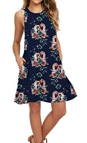 AUSELILY Women's Sleeveless Pockets Casual Swing T-Shirt Dresses (L, Black Red F Navy) Black Sleeveless Beach Cover