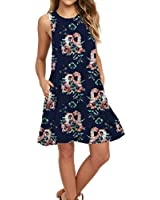 AUSELILY Women's Sleeveless Pockets Casual Swing T-Shirt Dresses (L, Black Red F Navy)