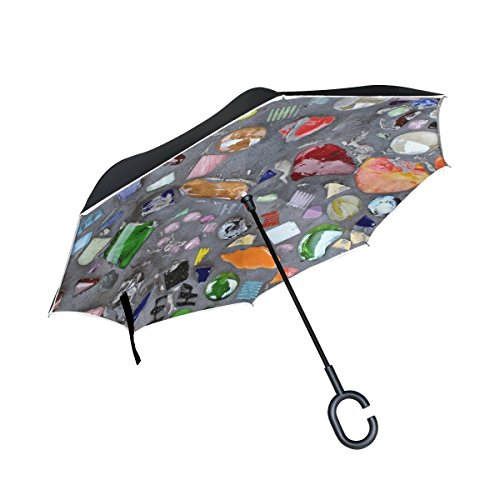 Pendant Stone Inverted (DNOVING Double Layer Inverted Shard Cement Stones Colorful Gloss Umbrellas Reverse Folding Umbrella Windproof Uv Protection Big Straight Umbrella For Car Rain Outdoor With C-shaped Handle)