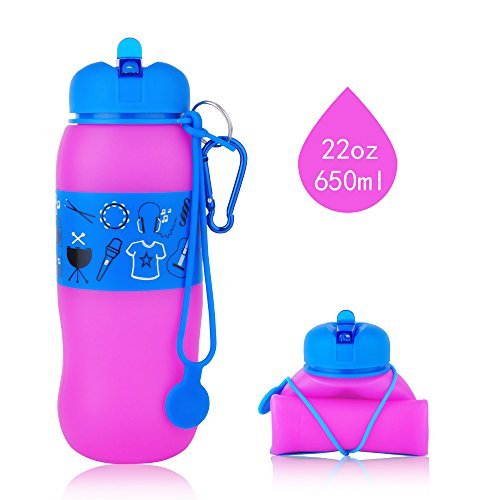 Collapsible Water Bottle ,INTOLIVES 22oz Unbreakable Silicone Foldable Sport Bottles with Leak-proof Caps,BPA Free,FDA Approved, for Outdoor Sports. 2 Bottle Coats for Changing