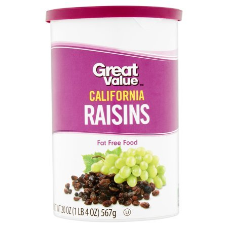 Great Value Healthy Snack California Raisins, 1LB 4 oz (PACK OF 3) by Great Value