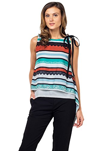 Plains and Prints Womens Yadid Sleeveless Top Large (Multi Colored Sleeveless Top)