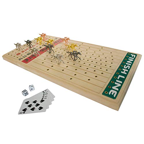 FINENI Horse Racing Board Game with Luxurious Durable Metal Horses, 11 Pieces (3 Gold, 3 Silver, 3 Black and 2 Bronze), Real Birch Wood Horseracing Game Board, Dice and Cards