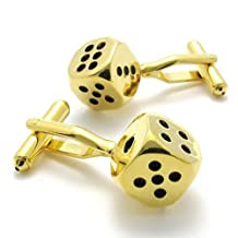 Konov Jewelry 2pcs Classic Novelty Personalized Lucky Dice Shirts Mens Cufflinks, Gold Black, 1 Pair, with Gift Bag, C21564