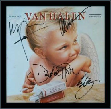 Framed Van Halen Band LP Autograph with Ceritficate of Authenticity ()