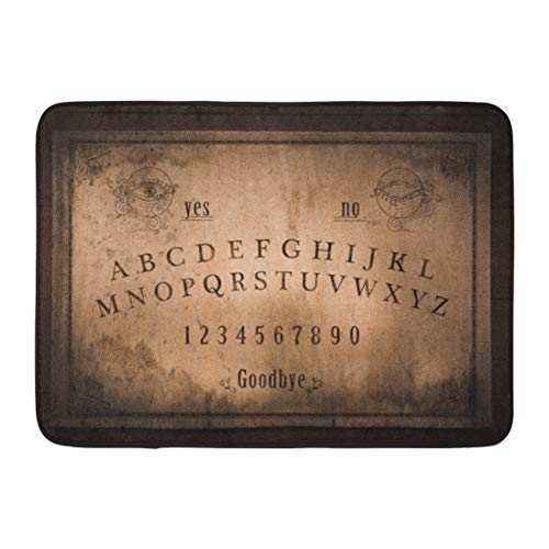 Emvency Doormats Bath Rugs Outdoor/Indoor Door Mat Ouija Talking Board and Planchette on Seances for Communicating The Dead High Contrast Occult Bathroom Decor Rug Bath Mat 16