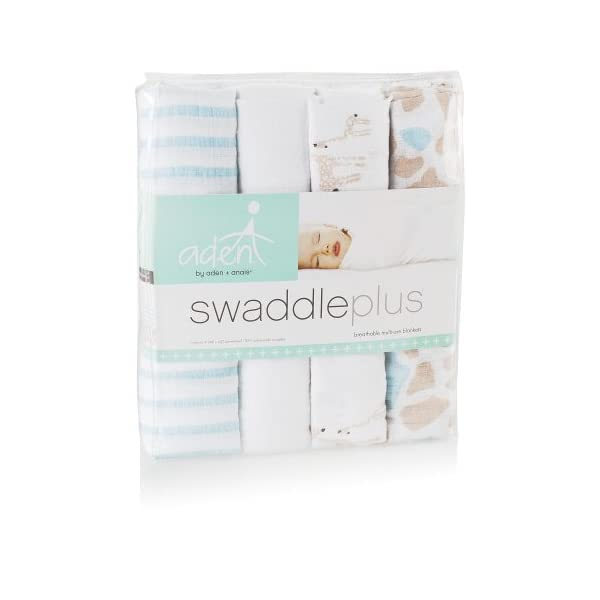 Aden by Aden + Anais Swaddle Blanket | Muslin Blankets for Girls & Boys | Baby Receiving Swaddles | Ideal Newborn Gifts, Unisex Infant Shower Items, Toddler Gift, Wearable Swaddling Wrap, Giraffe's