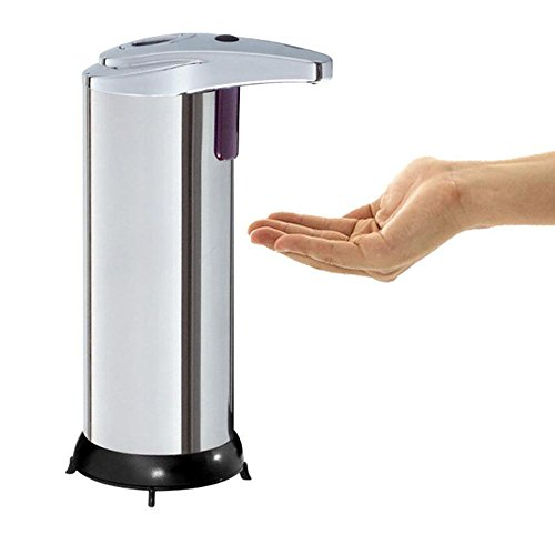 Battery Dispenser Operated (Enshey Premium Automatic Touchless Soap Dispenser Detachable Liquid Container Stainless Steel Electric Motion Sensor Hand Free Battery Operated Countertop with IR Sensor for Bathroom or Kitchen Sink)