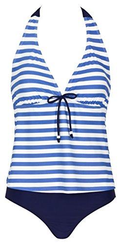 Landora® blau / weiß gestreifter Damen Neckholder-Tankini