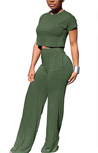 Women Casual O-Neck Short Sleeve Crop Tops High Waist Flare Long Pants Jumpers 2 Piece Outfits]()