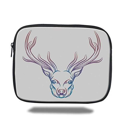 Laptop Sleeve Case,Antler Decor,Hand Drawn Colorful Deer Artistic Display with Soft Colors Print Decorative,Pink Lavander Sky Blue,iPad Bag by iPrint