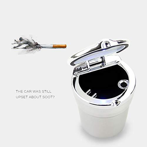 Justdodo Estilo del autom/óvil Cenicero con caja de almacenamiento especial Luz LED Accesorios para autom/óviles dise/ño de juntas antifumador con fugas