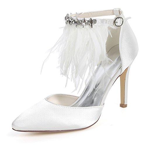 22LY White Closed Heel Frauen Court Flower Toe Satin 0608 Strass High Ager Schuhe Knöchelriemen Hochzeit Braut ZEqa1
