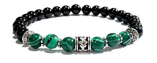 Small Handmade Malachite and Black Tourmaline Healing Bracelet Small 6 Inches
