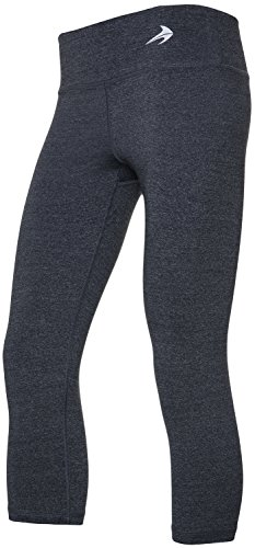 Women's Lightweight Compression Capri's (Heather Gray - S) - Body Slimming for Yoga, Hidden Pocket, Amazing Workout Pants