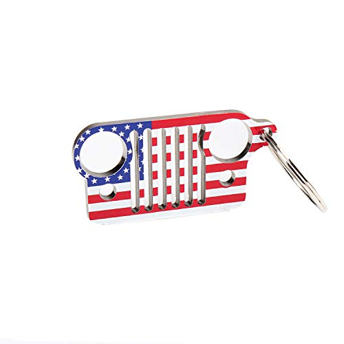 EVAPLUS Car Key Chain Keychain Key Ring for Jeep Wrangler Accessories Enthusiasts-Jeep Front Grill Design and Stainless Steel Material (American Flag)