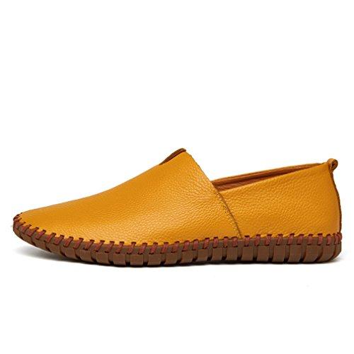 para el de suave Mocasines la barco MÁS Yellow los Bridfa de en genuino hombre deslizamiento 38~47 de azul de TAMAÑO Mocasines vaca cuero zapato hombres a cuero hechos mano del gwHq0Z