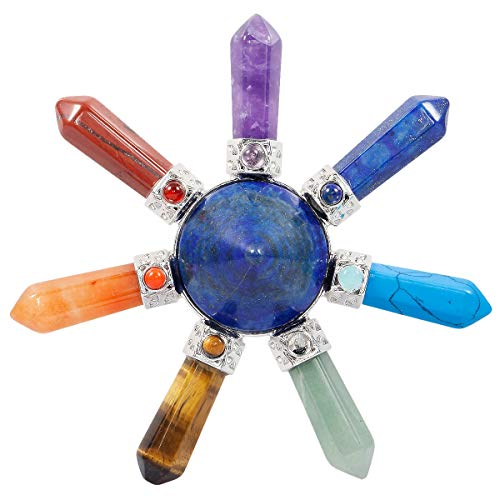 (SUNYIK 7 Chakra Crystal Energy Generator,Healing Point Cone, Lapis Lazuli, Seven Direction)