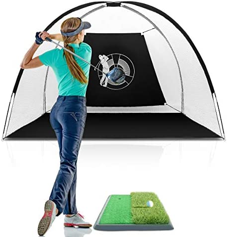 Tangkula 10 Golf Net, Indoor Outdoor Training with Target for Practice Hitting Cage Chipping, Golf Training Net