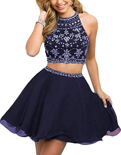 WanFuBridal Women's Halter Beading Homecoming Dresses Two Piece Pleated Cocktail Prom Gowns Short Navy Blue