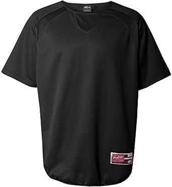 Rawlings Adult Flatback Mesh Short Sleeve Fleece Pullover (Black) (S)