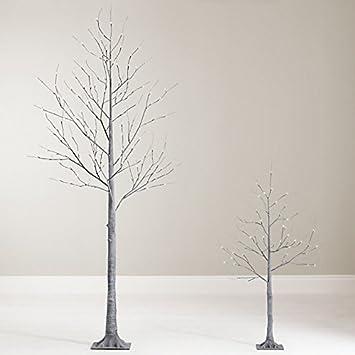 Amazon.com: Lumineo Pre-Lit Shabby Chic Deco Grey Chalk Twig Tree ...
