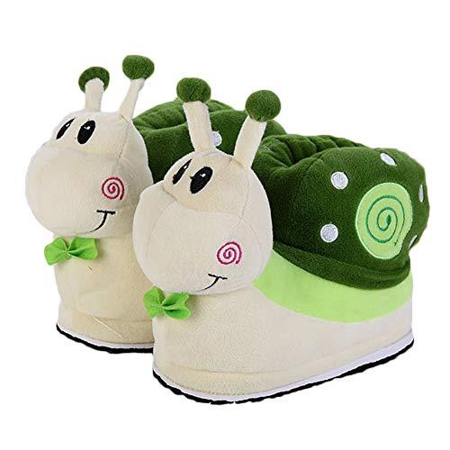 Animaux Pour Escargot Vert Chaussons Antidérapantes Chaussures Slipper Bande Dessinée Peluche Pantoufles Nouveauté Femme Maison 5SCaUq