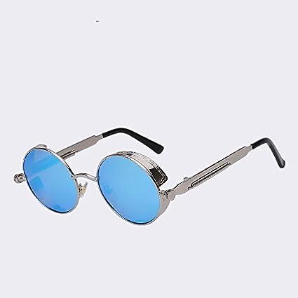 TIANLIANG04 El Gótico Gafas de Sol polarizadas Hombres Steampunk Armadura metálica Redonda Gafas de Sol Gafas