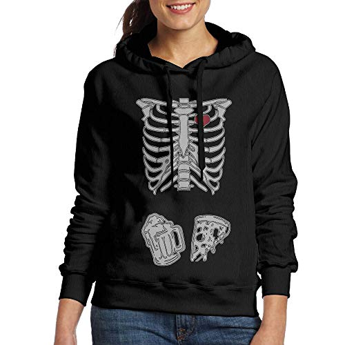 (DFGHJZH-L Skeleton Maternity Pizza & Beer Women's Fashion Adult Long Sleeve)