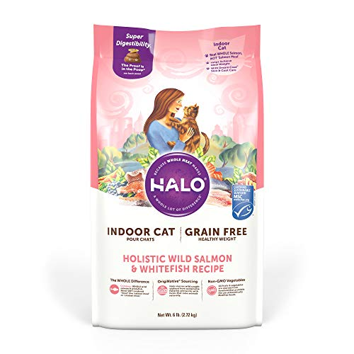 Halo Grain Free Natural Dry Cat Food, Indoor Healthy Weight Wild Salmon & Whitefish Recipe, 6-Pound Bag
