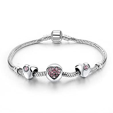 hot and bold sterling silver plated pandora loveheartvalentine charms diy dangling bracelet