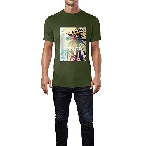 SINUS ART® Palmen mit Join The Fun Aufschrift Herren T-Shirts in Armee Grün Fun Shirt mit tollen Aufdruck