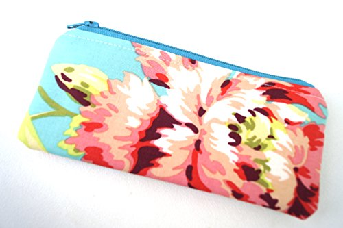 Blue and Pink Floral Fabric Pouch or Glasses - Eyeglasses Tween
