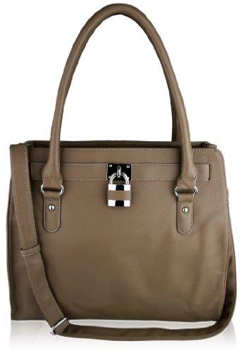 Hellbraun Vorhängeschloss Damen Statement Fashion Tote Handtasche