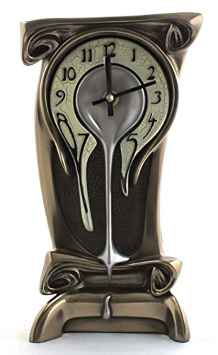 11.25 Inch Melting Warped Clock Polished Bronze Cracked Eggshell Face