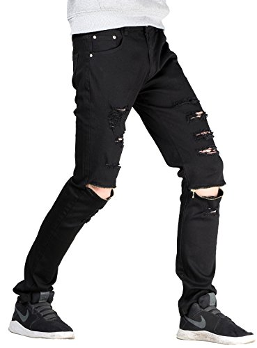 Lavnis Men's Slim Fit Destroyed Jeans with Holes Pencil Pant