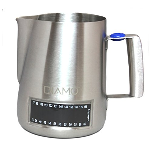 Diamo Stainless Steel Milk Frothing Pitcher With Integrated Thermometer (20-oz/600ml) by Diamo