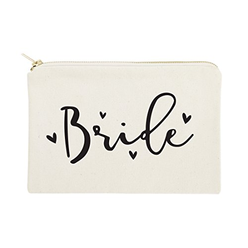 The Cotton & Canvas Co. Bride Wedding Cosmetic Bag, Bridal Party Gift and Travel Make Up Pouch