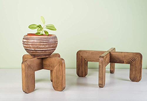 (Set of 2 Indoor Plant Stands Wood - Small and Large Wooden Pot Holders - Modern Rustic Planter Stands - Corner Mid Century Vase Coaster - Decorative Potted Plant Stand Centerpiece - POT NOT INCLUDED)