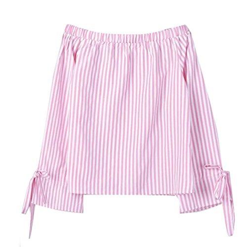 Clearance Striped Long Sleeve Shirt Womens Fashion Long Sleeve Blouse Print Sexy Shirts Off Shoulder Tops Duseedik (Fake Handbags Vuitton Louis)