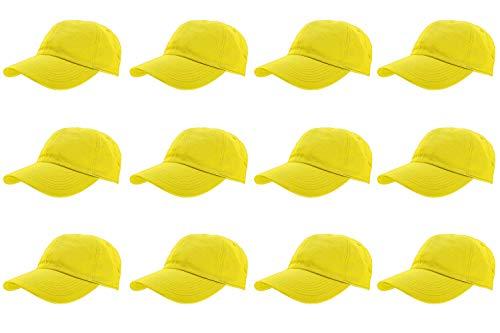 f31ba29a9 Gelante Baseball Caps 100% Cotton Plain Blank Adjustable Size Wholesale LOT  12 Pack - 1834-Yellow