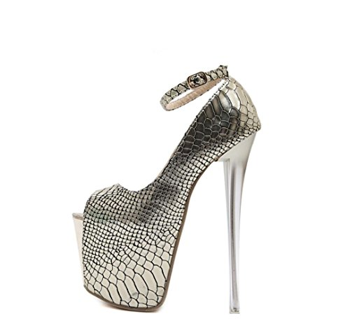 Zapatos Heels 18CM para Peep Best 7CM Metal mujer PU Green plataforma toe hebilla Bombas 4U® High Sandalias Premium Summer One de zqwF7