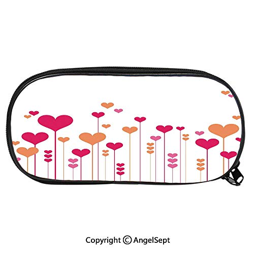 (Pencil CaseAbstract Heart Flowers Floral Romantic Love Wedding Anniversary Theme Decorative for Pen Holder with Zipper Children Back to School Big Capacity Pencil Pouch Student Sturdy Polyester Stati)