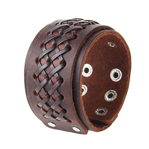 (AZORA Punk Leather Bracelet Handmade Cuff Bangle Braided Wristband Adjustable Bracelets for Men,Kids,Boys,Women (AL031-BROWN))