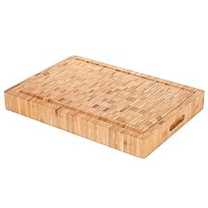"Heim Concept 1PC Premium Large [17"" x 12"" x 2""] Organic Bamboo Butcher Block Chopping Board Cutting Board, Professional Grade"