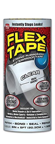 Flex Tape Rubberized Waterproof Tape, 8 inches x 5 Feet, Clear by Flex Tape