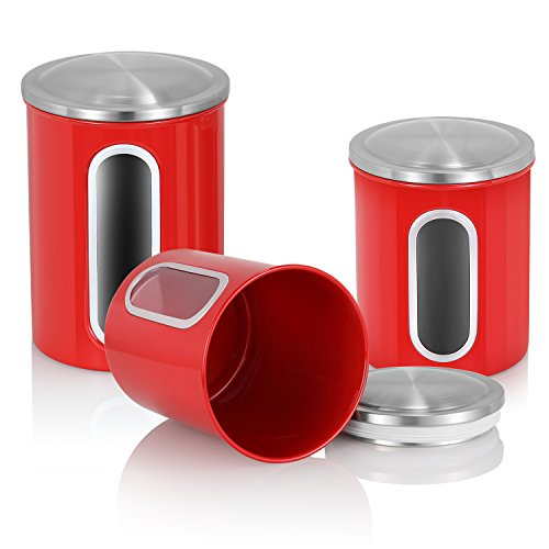MLO E-CO Canisters Sets for Tea Coffee Sugar Food Canisters with Airtight Lids, 3-Piece Set (Red)