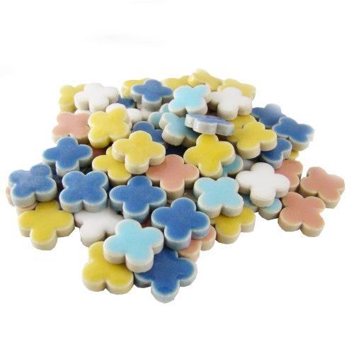 Flowers Tile - Jennifer's Mosaics 1-Pound 3/8-Inch Flowers Deco Ceramic Mosaic Tile, Assorted Colors