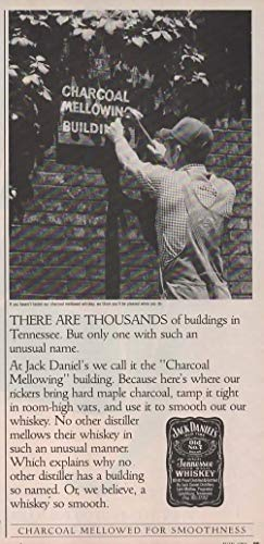 """Magazine Print ad: 1986 Jack Daniels Old No 7 Tennessee Whiskey, Charcoal Mellowing Building, There Are Thousands of Buildings in Tennessee. But Only One With Such an Unusual Name"""""""""""