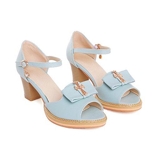 AllhqFashion Mujeres Hebilla Tacón ancho Tachonado Peep Sandalias de vestir con Diamante Azul